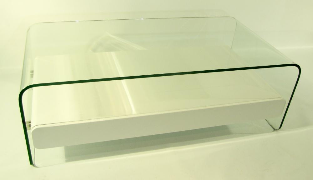 mesa de living de vidrio y cajn de madera